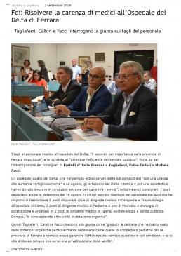 Fdi_ Risolvere la carenza di medici all'Ospedale del Delta di Ferrara _ Cronaca Bianca