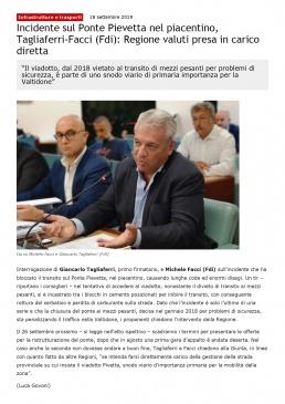 Incidente sul Ponte Pievetta nel piacentino,Facci (Fdi)_ Regione valuti presa in carico diretta _ Cronaca Bianca